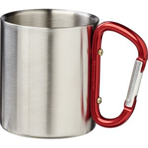 Insulated Carabiner Mug in Silver/Red