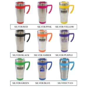 Printed travel mugs for workplace giveaways