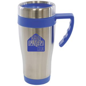 Custom branded metal travel mugs for workplaces