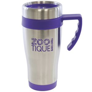 Promotional 450ml Oregan Stainless Steel Travel Mugs with company logo