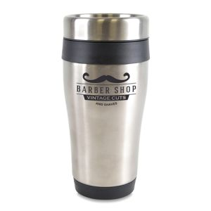 Branded travel mugs printed with company logos
