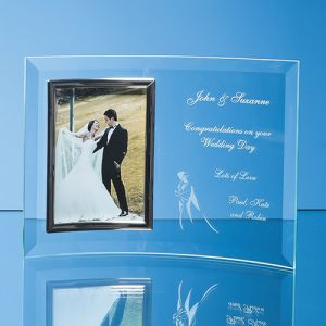 "Personalised 4 x 6"" Bevelled Glass Crescent Frames for Event Gifts"
