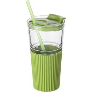 500ml Glasses with Straws in Green