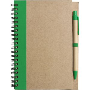 Recycled Notepad and Pen Sets in Natural/Green