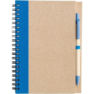 Recycled Notepad and Pen Sets in Natural/Light Blue