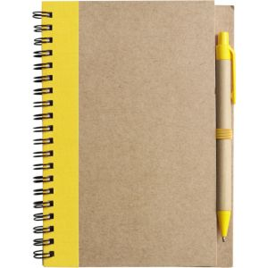 Recycled Notepad and Pen Sets in Natural/Yellow