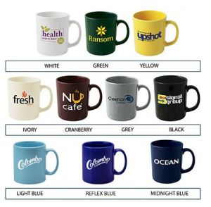 Custom mugs with printed company logo