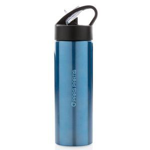 Straw Metal Sports Bottles in Blue