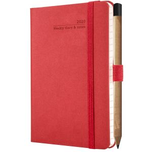 Branded Ivory Matra Pocket Weekly Diaries for company giveaways in Ruby Red