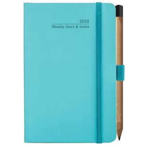Customised journals for council merchandise in turquoise