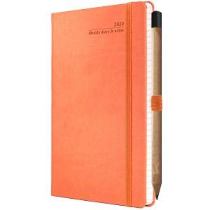 Ivory Tucson Medium Weekly Diaries with Pencil in Orange
