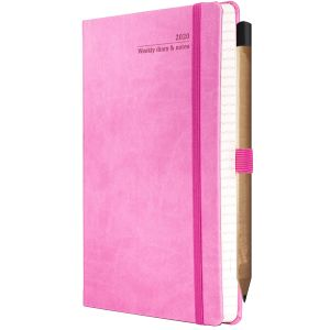 Ivory Tucson Medium Weekly Diaries with Pencil in Pink
