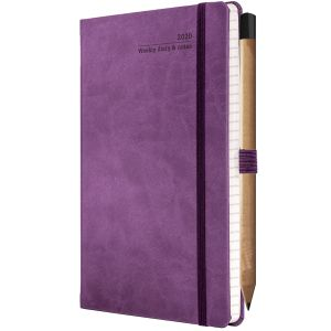 Ivory Tucson Medium Weekly Diaries with Pencil in Purple