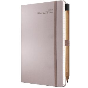 Ivory Tucson Medium Weekly Diaries with Pencil in Taupe