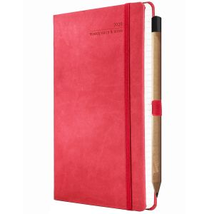 Ivory Tucson Medium Weekly Diaries with Pencil in Coral Red