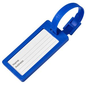 Plastic Window Luggage Tags in Blue
