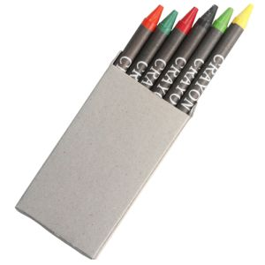 Promotional 6 Piece Crayon Set in a Recyclable Box for Kids