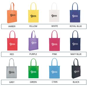 Each of these promotional Recyclable Non Woven Shopper Bags is available in 12 different colours.