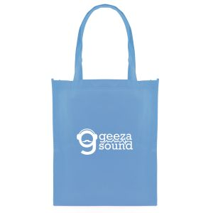 These generously sized branded tote bags are made from entirely recyclable materials!