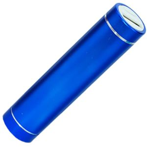 Promotional Blue power banks with business artwork