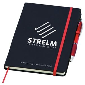 Promotional Noir Notebooks printed with company design