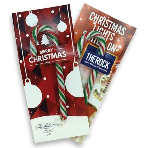 Company Printed Candy Cane Cards for Christmas Promotions