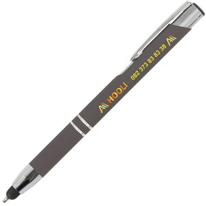 Soft Touch Stylus Ballpens in Grey