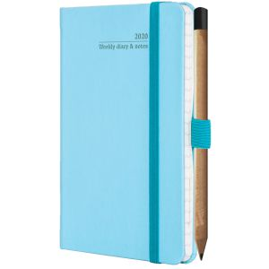 Promotional Ivory Tucson Pocket Weekly Diary with Pencil in Blue Curacao