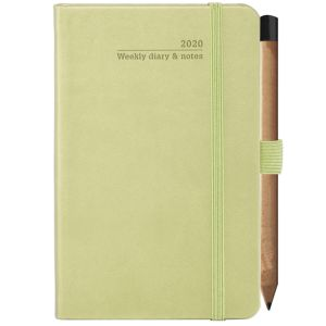 Branded week to view diaries for desktop advertising colours in Bright Green