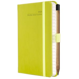 Ivory Tucson Pocket Weekly Diary with Pencil in Neon Green