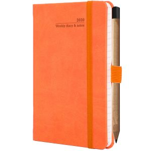 Ivory Tucson Pocket Weekly Diary with Pencil in Orange