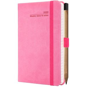 Ivory Tucson Pocket Weekly Diary with Pencil in Pink