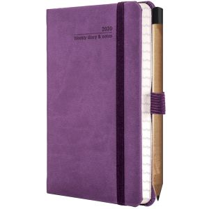 Ivory Tucson Pocket Weekly Diary with Pencil in Purple