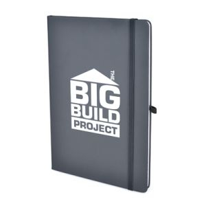 A5 Soft Touch PU Notebooks in Dark Grey