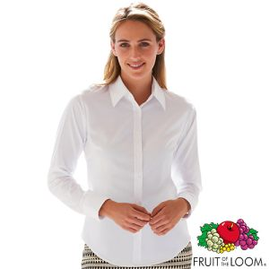 Promotional Fruit of the Loom Lady Fit Long Sleeve Oxford Shirts for workwear