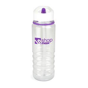 800ml Bowe Sports Bottles in Clear/Purple