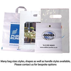 Branded plastic bags for exhibitions style options