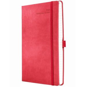 Full Colour Ivory Tucson Medium Weekly Diary in Coral Red
