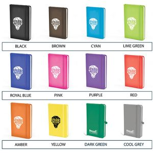 Promotional soft feel notebooks for offices colours