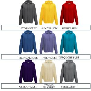 Promotional hoody for printing with company logos colours