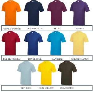 These printed T-shirts are available in a wide range of colours.
