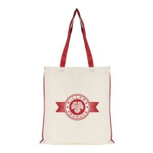 Logo Printed 7oz Colour Trim Shopper Bag for company gifts