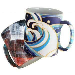 Promotional printed mugs with all over design