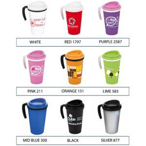 Custom branded take away mugs for desktop advertising colours
