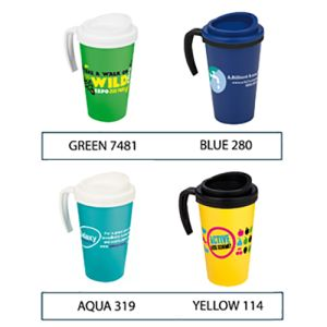Promotional travel mugs for workplace merchandise colours