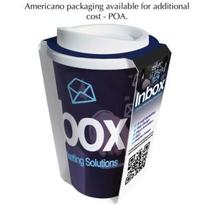 Promotional Americano Colour Mugs packaging with business logo