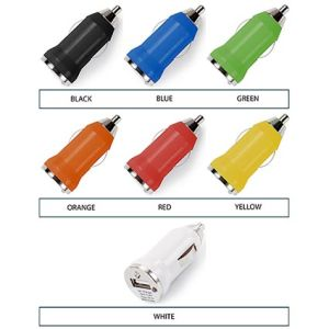 Printed In Car Chargers for giveaways colours
