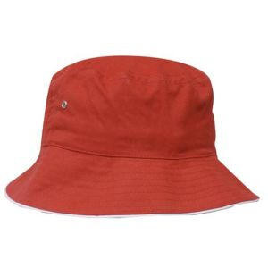 Twill Bucket Hat in Red