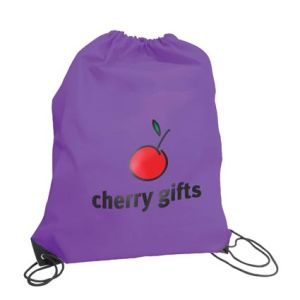 Budget Nylon Drawstring Bags in Purple