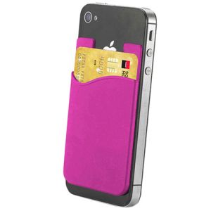 Custom pink phone wallet for company logo